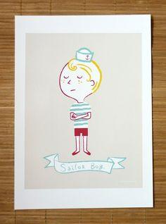 Sailor boy illustrated by Verónica Grech.  http://www.etsy.com/shop/Papelsincloro?ref=si_shop
