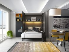 Nocturne de Preface, un concept de lits relevables, imaginé par les Meubles Gautier. Pour passer en clin d'oeil d'un espace de vie à un espace nuit... #madeinfrance #gaindeplace #meublesgautier #meubles #litrelevable #litgaindeplace #meublesastucieux