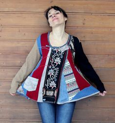 Patchwork recycled sweater tunic. Made from recycled sweaters and denim jeans. Remade, reused and upcycled. Hippie boho gypsy folk style. One of a