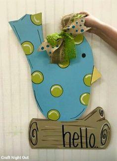 Bird on a Log Door Hanger / Spring door hanger / Craft Night Out