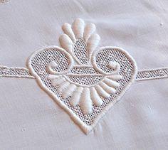 Em's Heart Antique Linens -Monogrammed Antique Linen Bobbin Lace Tablecloth