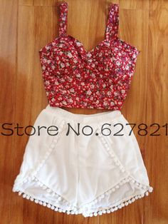 New! Sweet Floral Print Pom Pom Hem High Waist Beach Shorts For Women Elastic Waist Hot Shorts Summer-in Shorts from Apparel & Accessories on Aliexpress.com | Alibaba Group