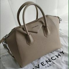 Givenchy Antigona Beige Bag New with tag and dust bag. Very rare color. I do take offer and only through Poshmark. Size Medium. I can't ship the bag until the 28th. Please be aware of that before buying or putting an offer Givenchy Bags