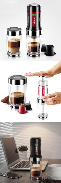 US$67 + free shipping. Portable manual coffee maker + coffee cup, which has the double wall, prevents the high temperature of the coffee. Hand operated, no batteries, no electric power.