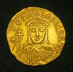 Byzantine Empire Solidus Gold Coin depicting Theophilos, with his father Michael II and his eldest son Constantine in the reverse,  Theophilos (829-842D).
