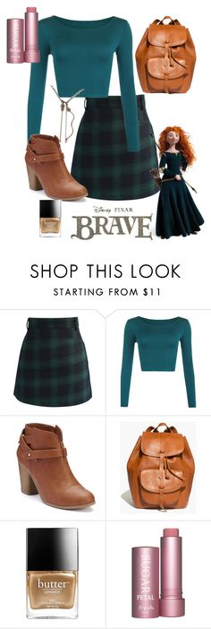 """Merida"" by pearlumberger ❤ liked on Polyvore featuring Chicwish, WearAll, LC Lauren Conrad, Madewell, Merida, Disney, Butter London, disney, disneybound and merida"