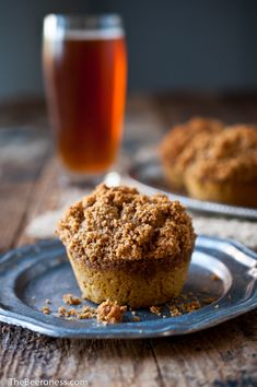 Pumpkin Ale Muffins with Graham Cracker Streusel Topping