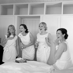 Who says the bride is the only one who gets to wear white?! Pair a white bridal gown with white bridesmaids dresses for a fresh, modern look. Image: Nikki Leigh McKean