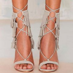Schutz Kija Fringe Suede Heel - Gray - Best Sellers That Flow Open Toe Heels Shoes Pretty Shoes, Beautiful Shoes, Cute Shoes, Me Too Shoes, Stilettos, High Heels, Suede Heels, Shoes Heels, Gray Heels