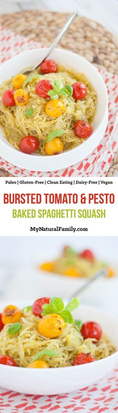 Bursted Tomato & Pesto Baked Spaghetti Squash Recipe {Paleo, Gluten-Free, Clean Eating, Dairy-Free, Vegan, Whole30}