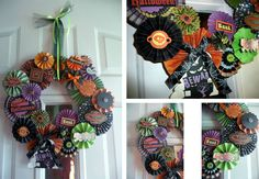 """Spooky Wreath:   Inspired by Pink By Design, I made this wreath over the weekend with my sister-in-laws. It's fairly simple, I just don't recommend making 5 at one time!   Supplies Used:  - We R Memory Keepers Spookville & Heebie Jeebies Scrapbook Pads  - We R Memory Keepers Heebie Jeebies Textured Cardstock Pad  - We R Memory Keepers Circle Cutter (to cut out the cardboard), Art Knife, Small Precision Tip Scissors, Brad Setter & Piercing Tool, Twist Trimmer (LOVE this tool) and Magnetic Cutting Mat (their mat is self-healing & BIG, I LOVE it!)   - Martha Stewart's Scoreboard (We R needs to make one because this one's got issues)  - Tulle, ribbon and embellishments (all of the cute centers came from the Spookville & Heebie Jeebies collections)    Instructions:  1. Cut out a 12"""" circle from cardboard, and a 7"""" circle out of the center (use the center for another wreath - pics coming soon)  2. Pick out your paper (I used 20 different sheets to make the different circles)   3. Score the paper using your score board. (I made 7 papers at 1/8"""", 180  1/4"""" and 7 @ 1/2"""")  4. Cut the papers into strips (the large circles will need 1 1/2 strips - I cut 10 at 1"""" strips, 5 @ 1 1/2"""" strips, and 5 at 2"""" strips)  5. Now fold the strips accordion style   6. Tape the ends together (pattern side facing out)  7. Then gather together into a cone shape and push down and there's the pleated circle!   8. Make 20 1-2"""" circles out of your scrap paper (don't have to be perfect, you can use a punch)  9. Using a hot glue gun, glue the pleated circle to the little scrap circle so that the circle will stay put! (this will take a little practice, so be patient)  10. Arrange all of your pleated circles on your cardboard wreath backing & choose your center embellishments. I used push pins to hold them in place while I figured out the pattern I wanted to create. Then hot glue it all down.   11. Using tulle hang the wreath on your door & enjoy!"""