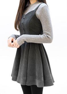 Sleeveless Flared Dress - Dresses for Women Korean Fashion Casual, Korean Outfits, Asian Fashion, Modest Fashion, Look Fashion, Fashion Dresses, European Fashion, Trendy Fashion, Casual Dresses