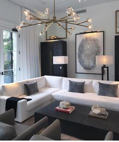 44 Fascinating Black Living Room Designs Ideas That Never Go Out Of Fashion Home Decoration Remodelling Ideas / / 44 Fascinating Black Living Room Designs Ideas That Never Go Out Of FashionFascinating Black Livi Modern Apartment Decor, Apartment Interior Design, Living Room Interior, Home Living Room, Apartment Living, Living Room Designs, Apartment Ideas, White Apartment, Apartment Essentials