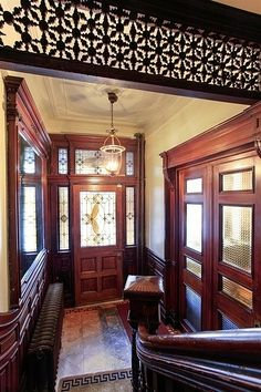Gates Avenue Brooklyn brownstone Victorian interior style woodwork foyer by techpro12, via Flickr