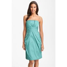 ML Monique Lhuillier Bridesmaids Pleated Strapless Taffeta Dress... ❤ liked on Polyvore