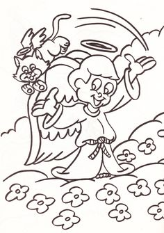 from an Angels coloring book - boy angel with cat angel in the clouds
