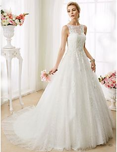 A-Line+Princess+Illusion+Neckline+Court+Train+Lace+Wedding+Dress+with+Beading+Appliques+by+LAN+TING+BRIDE®+–+USD+$+359.98