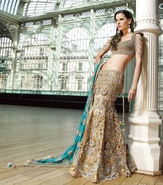 Gold cutwork Lengha from Sonas Haute Couture