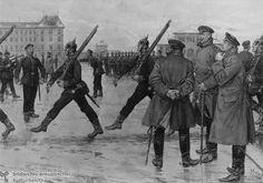 Rekruten des Preußischen Militärs beim Exerzieren (um 1880) Es war viele Krieg drinnen Deutschland, also ein uniform war typisch.