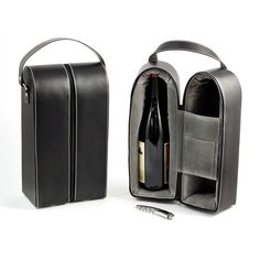 Wine Caddy For Two Bottles w/ Bar Tool