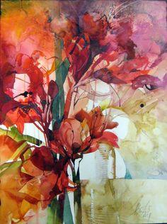 Elke Memmler lots of loose watercolour flowers on her website This is wonderful !