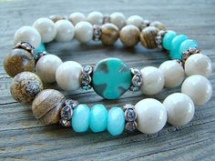 Stretch Bracelet, Gemstone Bracelet, Picture Jasper, Fossil Stone, Aqua Jade, Clear Crystal, Rhinestone Stacking Bracelet, Boho Chic by BeJeweledByCandi