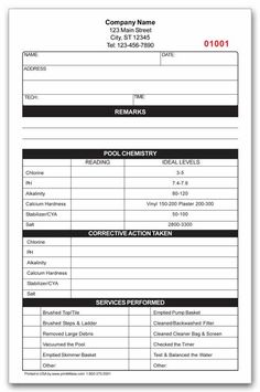 Pool Services Work Order Forms  Pool Service And Order Form