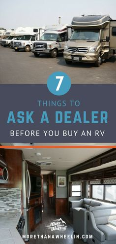 Taking a trip to the RV dealership? Learn the 7 things you want to ask the rv dealer no matter if you're buying a class a motorhome a fifth wheel or a camper. Get ideas on what to ask what's important and what not to miss! Rv Camping Tips, Camping Car, Camping Ideas, Camping Cooking, Camping Kitchen, Camping List, Camping Products, Camping Outdoors, Camping Essentials
