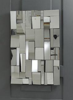 New Modern Rectangular Pave Multi Facet Glass Mirror Fireplace Mirror, Wood Mirror, Hotel Lobby Design, Art Deco Mirror, Focal Wall, Crystal Wall, Mirror Wall Stickers, Glass Wall Art, Inspirational Wall Art