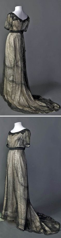 Evening dress, probably French, ca. 1911-13. Smith College Historic Clothing…