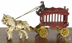Cast Iron Toy; Kenton, Overland Circus, Cage Wagon, 14 inch.