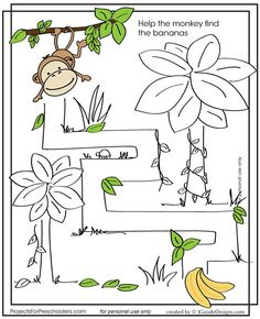 Monkey Maze by Jen Goode Creative Activities For Kids, Preschool Learning Activities, Infant Activities, Book Activities, Teaching Kids, Printable Preschool Worksheets, Kindergarten Worksheets, Printables, Logic Games For Kids