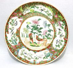 ANTIQUE CHINA CHINESE FAMILLE ROSE PLATE BIRDS