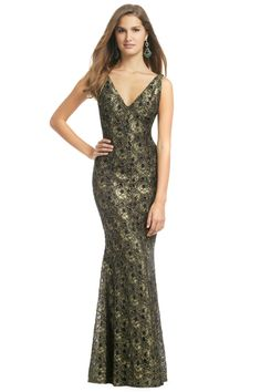 Perfect afterparty dress for a glamorous gold/peacock wedding! Carmen Marc Valvo Golden Leaf Gown