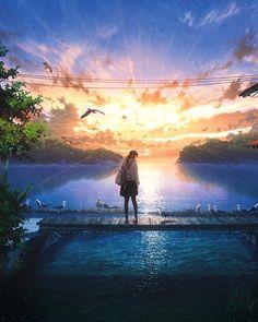 Wallpaper Animes, Anime Scenery Wallpaper, Anime Artwork, Fantasy Artwork, Animes Wallpapers, Sky Anime, Anime Galaxy, Scenery Background, Background Pictures