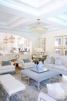 Soft blues team up alongside white and gold to create an inviting, breathtaking living room color scheme. With pops of vintage china, this entertaining space is totally inspiration worthy. diy Family room Summer Home Tour - Simple Summer Styling Tips Living Room Interior, Interior Design Living Room, Living Room Designs, Home Interior, Coastal Living Rooms, Modern Living Rooms, Blue And Pink Living Room, Southern Living Rooms, Glam Living Room