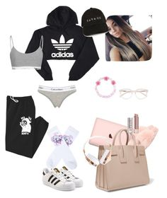 """Trip home"" by sapphirejones ❤ liked on Polyvore featuring Yves Saint Laurent, Stila, Derek Lam, Carole, adidas Originals, adidas, Frends, Calvin Klein Underwear and UNIF"