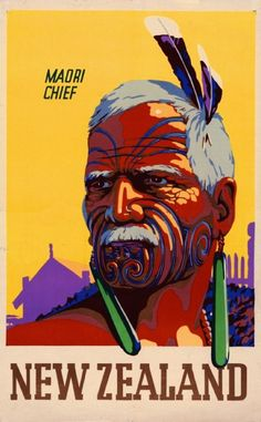 Fascinating New Zealand Maori Chief Vintage Travel Advertisement Art Poster in Australian | eBay