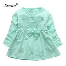 Startist vestidos para meninas calças de comprimento total vestido infantil flor bordado do bebê girls dress primavera arco bebê roupas de menina(China (Mainland))