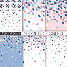 pink & blue digital paper confetti geometric por POandPOdigital