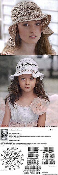 Летние вязаные шляпы - панамы для мамы и дочки..