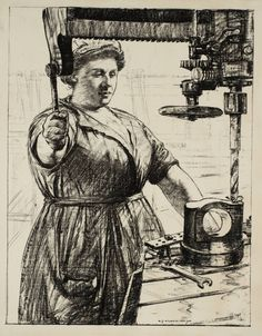 Archibald Standish Hartrick, 'Women's Work: On Munitions - Heavy Work (Drilling and Casting)' c.1917