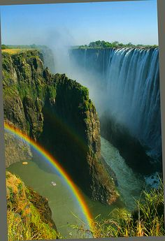"Victoria Falls. Called Mosi o a Tunya by the locals , meaning  ""The smoke that thunders"""