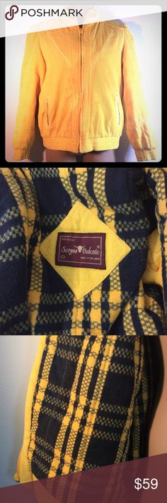 "Vintage 1980s Sergio Valente Corduroy Jacket Small Vintage 1980s Sergio Valente Yellow Corduroy Jacket   Bright yellow and totally rad to the max!  I can totally see Barb from Stranger Things wearing this.  Great coat. Needs a cleaning. There is some soil on sleeves and near front pocket.  MUST BE DRY CLEANED  Beautifully lined.  Please see photos for flaws  Measurements laying flat and zipped  Collar to shoulder 4"" Shoulder to sleeve 24"" Across chest armpit to armpit 21.5"" Back of collar to…"