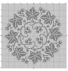 Points de croix *@* monochrome Round 30 Ivy leaves