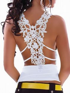 Lace Floral Printed Backless V-Neck T-Shirt For Women on buytrends.com