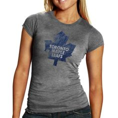 Old Time Hockey Toronto Maple Leafs Ladies Five For Fightin' Blasted Tri-Blend T-Shirt - Ash $19.95