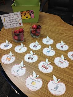 """The sign read: """"Please pick an apple (or two), if you are able to donate supplies to our classroom!""""  The apples had the item listed on it that could be donated and where it could be found."""