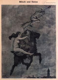 Hans Printz (1865- 1925), 'Mönche und Nonne', from Die Muskete, Oct. 2, 1919 Source