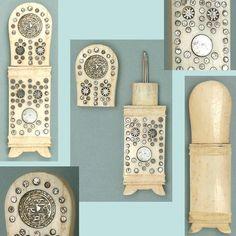Antique Figural Bone Clock Needle Case * English/French  POW Work * Circa 1800